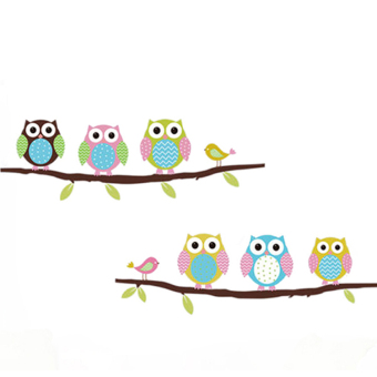 Harga Fancyqube Fashion DIY Removable Owl Birds Branch Wall Stickers Multicolor