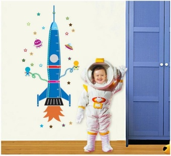 Harga Rocket Height Wall Sticker for Kids Room Growth Chart Height Measure for Children Removable PVC Wall Decals 010 - intl