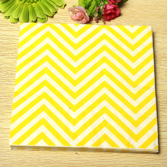 Harga 13'' Paper Napkins Wave Tableware Wedding Dinner Birthday Dinner Xmas Party Yellow White Waves - Intl