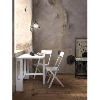 Interbuild Flat Medium Wall Table (1 Table & 2 Chairs) (White) - 2