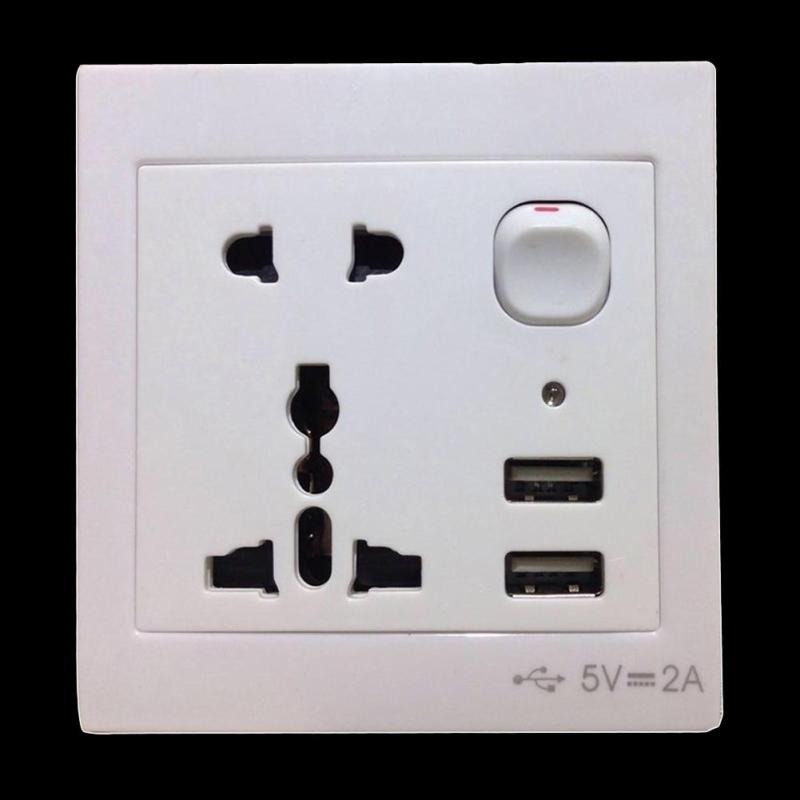 International Universal Double USB Outlet Power Wall Socket Plug w Switch
