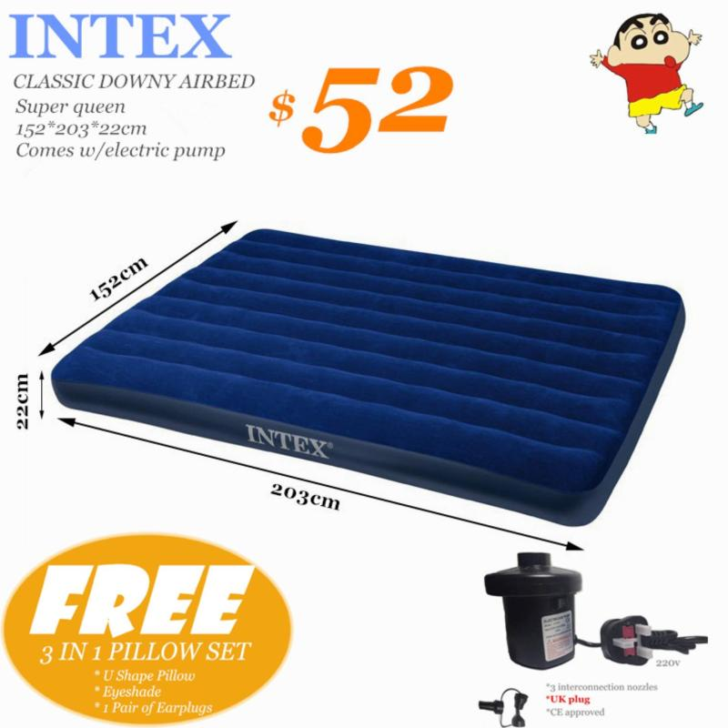 INTEX AIRBED Super queen 152*203*22*Pillow&Electric Pump(UK plug) to choose*Inflatable Mattress*AIR BED