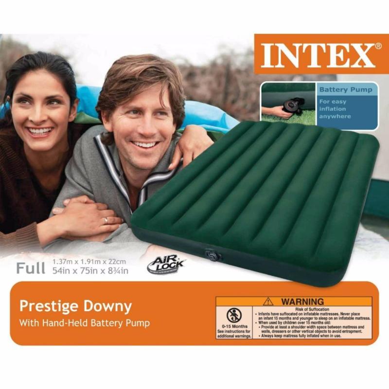 Intex Prestige Downy Mattress with Handheld Battery Pump (FULL)