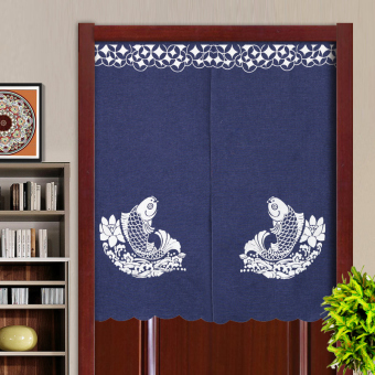 Japanese-style curtain fabric Four Seasons off the curtain kitchen curtain bedroom feng shui curtain embroidery half-curtain bathroom Curtain Cloth