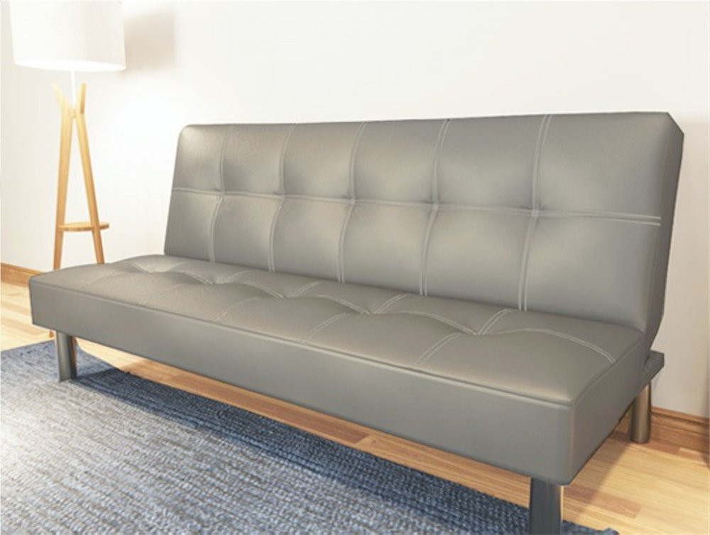 Japanese Style Single Sofa Bed Made Of PU Leather (Grey Colour)   Lazada  Singapore