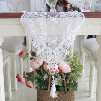 Korean style embroidered lace romantic table flag