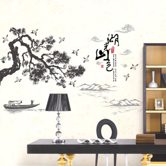 Lake Mountains Welcome Song Chinese Landscape Wall Stickers Living Room Background Sticker Bedroom Study