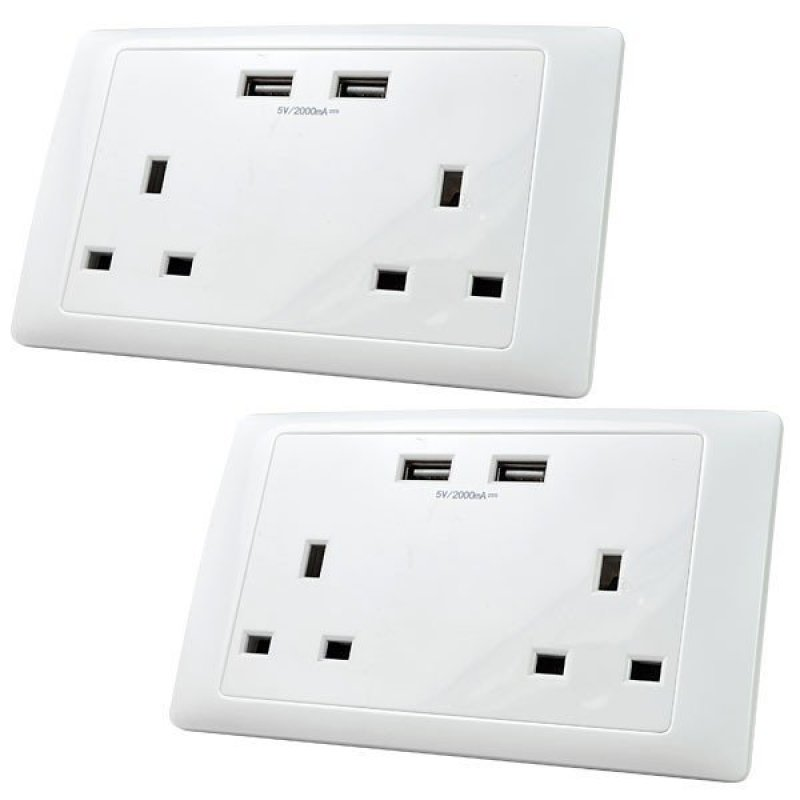 MENGS® 2Pcs UK MultiFunction Double Sockets With 2 USB 5V 2000mAh Outlets 13A Home Mains Wall Socket Outlet