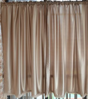 Modern simple simulation silk bedroom living room half-curtain finished curtain