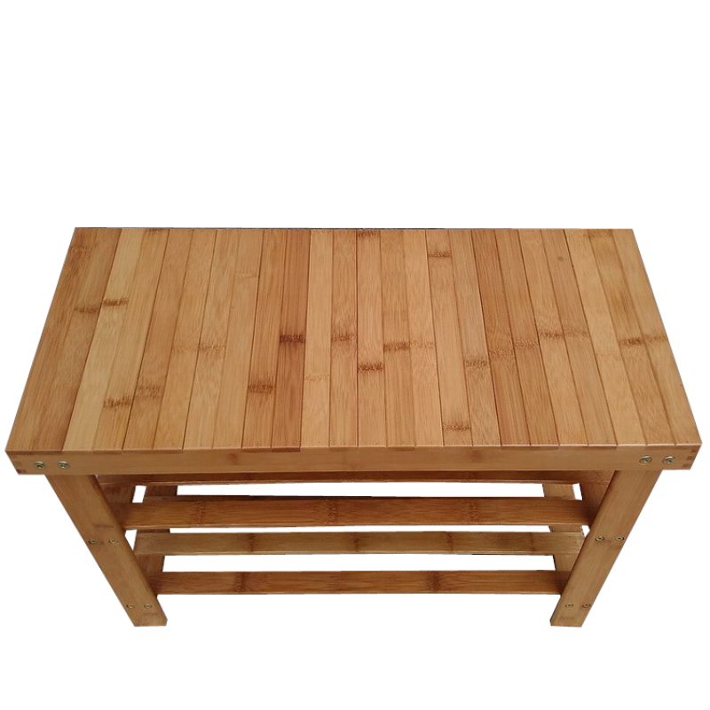 Multifunctional three-layer Phyllostachys Pubescens Shoes Changing Stool