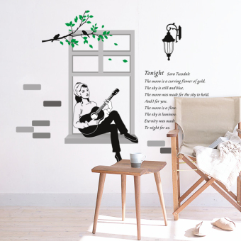 Music Room Decoration Wall Stickers Wallpaper Living Background Sticker Piano Girl