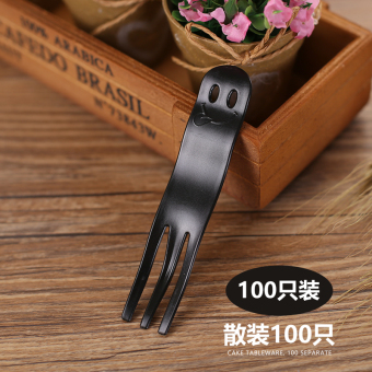 Name is plastic black Western dessert fork disposable fork