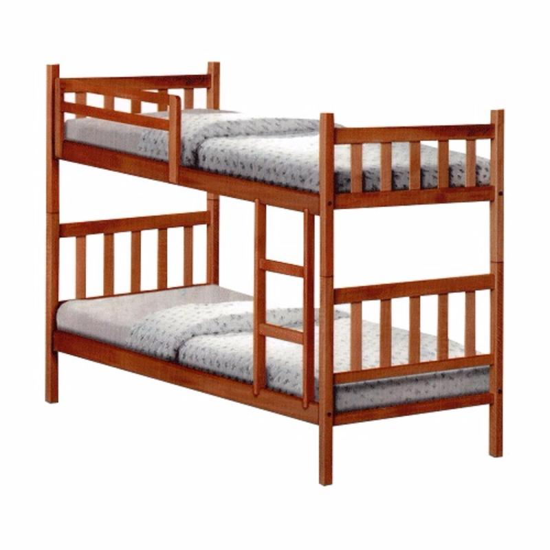 Natural Wood Single with Single Double Decker Bed
