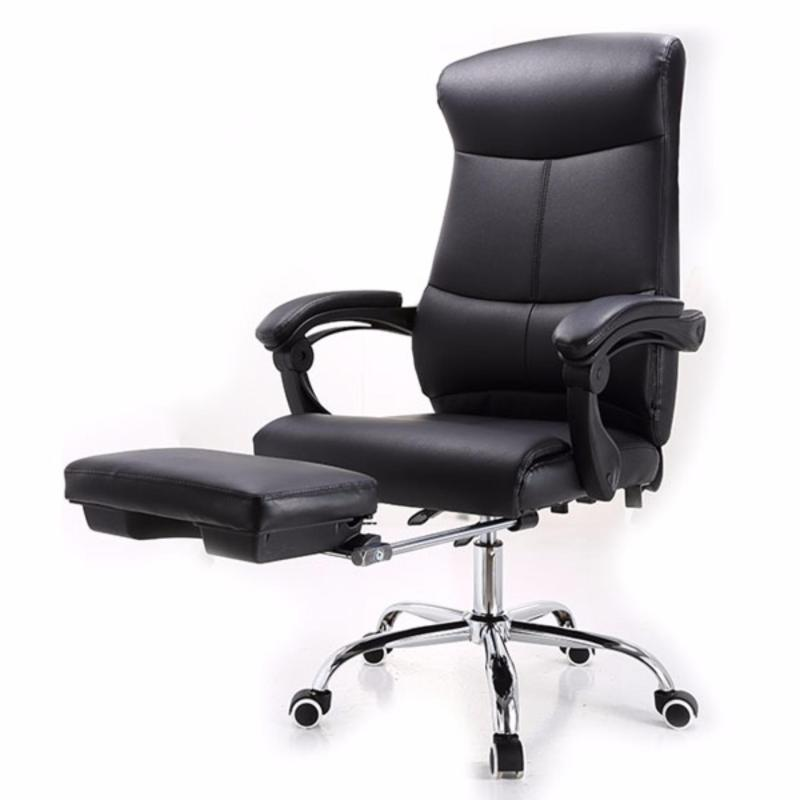 New PU Leather Recline Office Chair J86 with Legrest Black-self-setup,Delivery-weekdays before 6pm Singapore