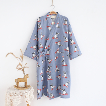 Nightgown Female Summer Cotton Japanese-style thin section loose long section casual bathrobe pajamas sweet cute sweat steaming home clothes