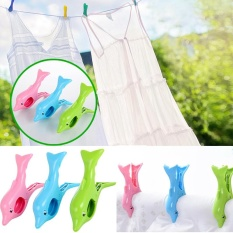 Perfectworld Practical High-quality Hot Sell Dolphin Shape Beach Clothes Towel Wind Large Clip Pegs Grip Travel Accessories - intl