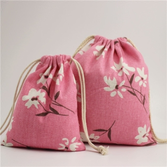 Harga pink flowers accrue bag tote drawstring bags storage bag drawstringbag drawstring bags cotton sack