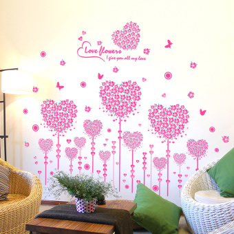 Pink Love English Love Bouquet Living Room Bedroom Bedside Wall Stickers  Self Adhesive Wallpaper Background Wall Part 55