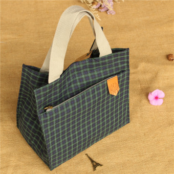 Plaid square small container bag lunch bag