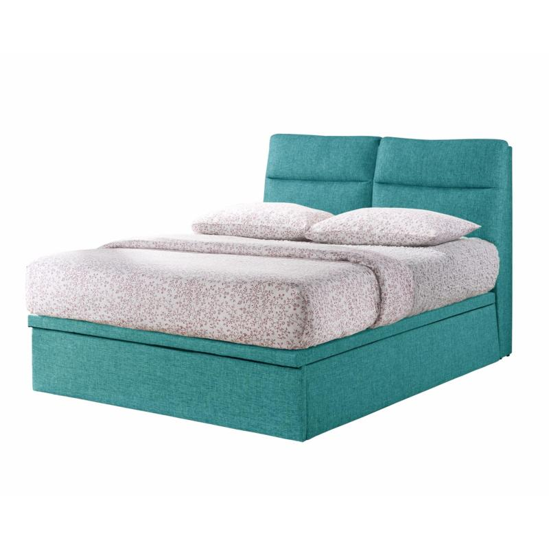 Queen size * Valentino Storage Bed Frame * 14-inch Depth * Fabric Upholstery * Aqua Blue color  * Free Delivery