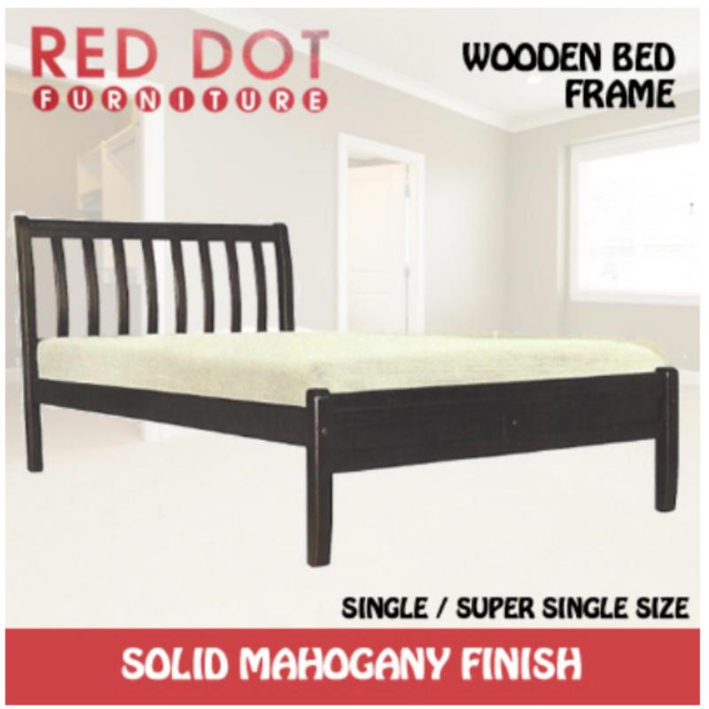 Red Dot Wooden Bed Frame Single Solid Mahogany Finish Light Brown