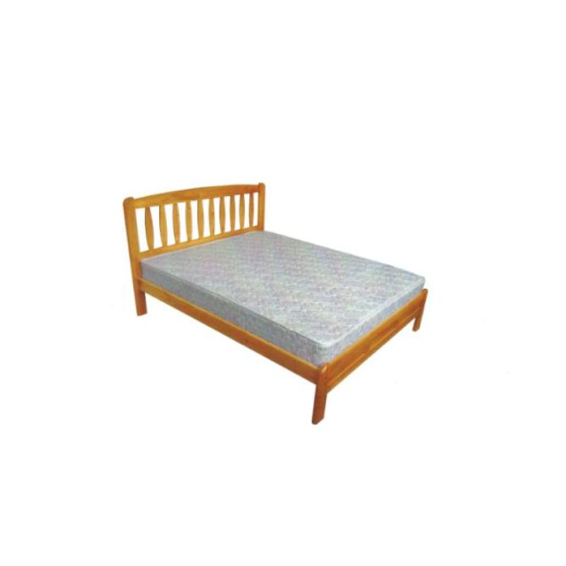 Red Dot Wooden Bed Frame Solid Mahogany Finish King Size