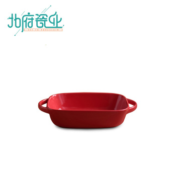 Red microwave oven ceramic plate oven dish
