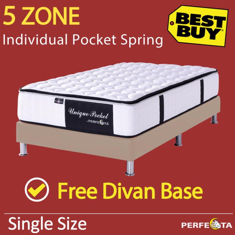 Single Size * Unique Pocket Mattress * 11 inches * 5 Zone Individually Pocketed Spring * Free Divan Base