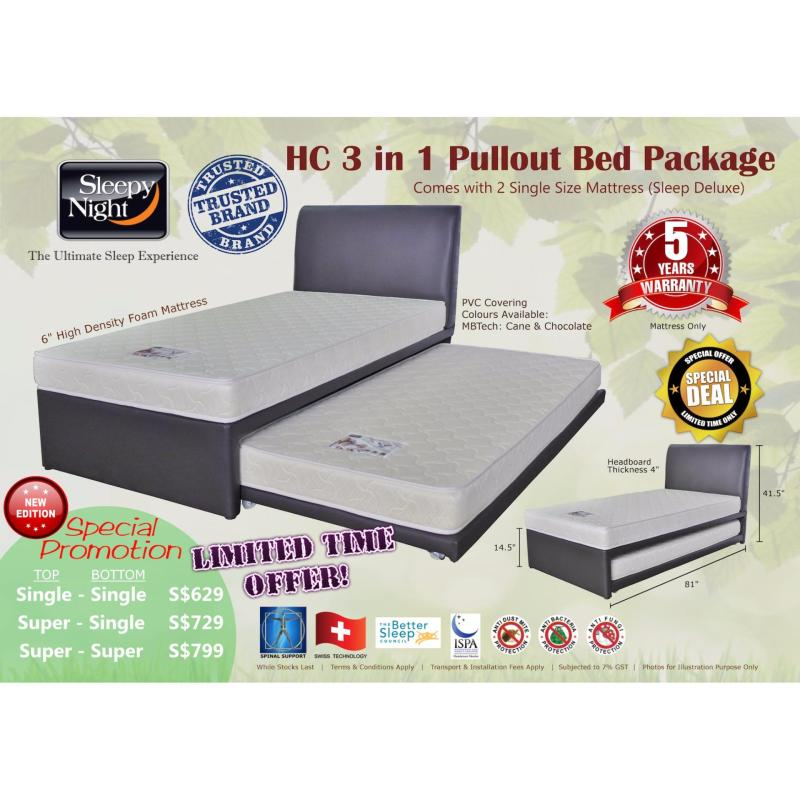 Sleepy Night 3 in 1 Pullout Bed Package - Super Single Top/Single Bottom, Sleep Deluxe 6 (Cane)