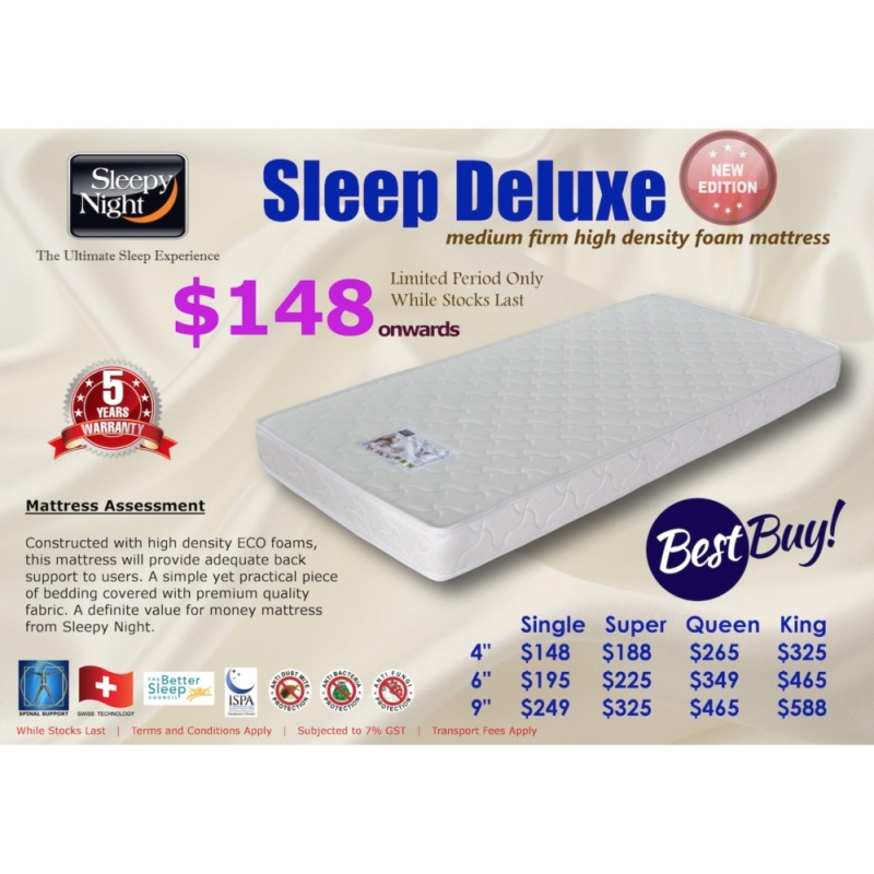 Sleepy Night Sleep Deluxe High Density Foam Mattress, King 9 (FREE DELIVERY)