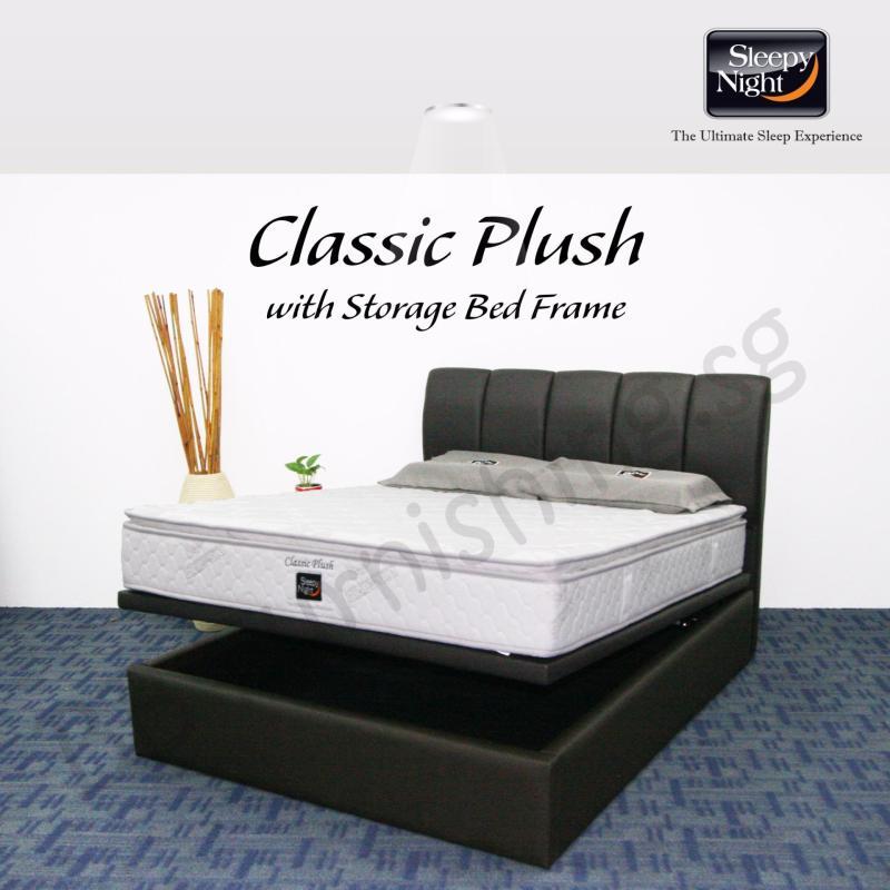 Sleepy Night (Super Single) Classic Plush Mattress with Jacinta Storage Bedframe
