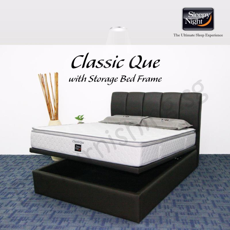 Sleepy Night (Super Single) Classic Que Mattress with Jacinta Storage Bedframe
