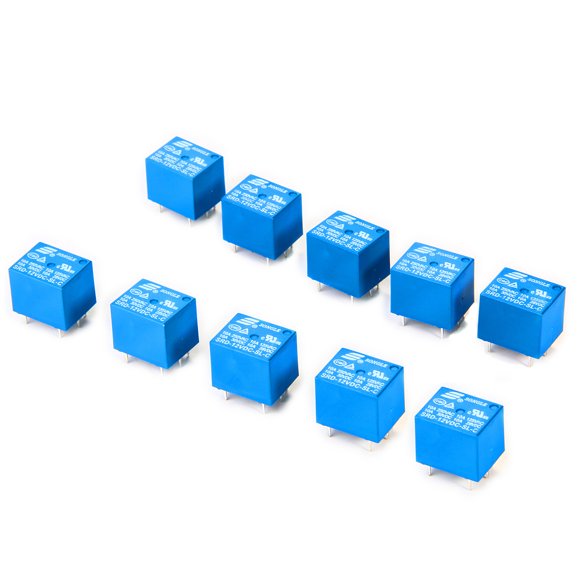 Songle 10pcs 12v Mini Electromagnetic Power Relay Spdt 10a Pcb Mount 5 Pins Household Appliances