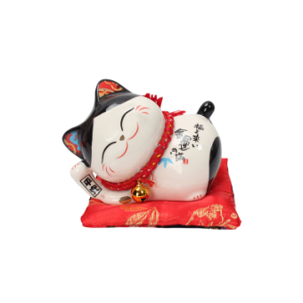 Harga Stone workshop lucky cat lucky Tai Fook lying cat large in miniornaments full willing lying cat Ping An Fu to gift