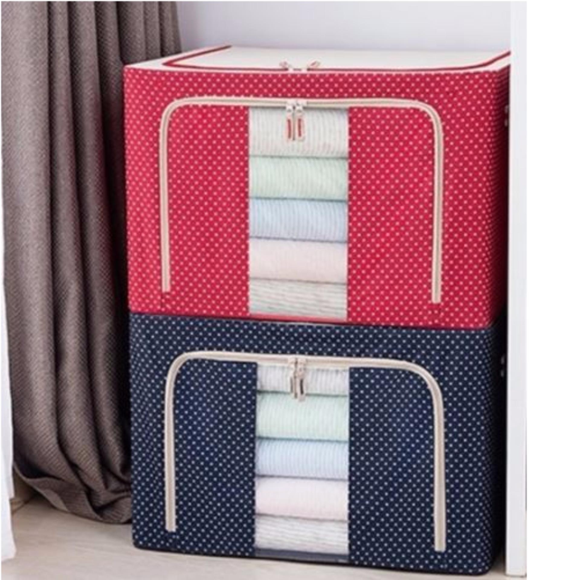 Storage Box with Zip Steel Frame Transparent Window 66L (Polka Dot ...