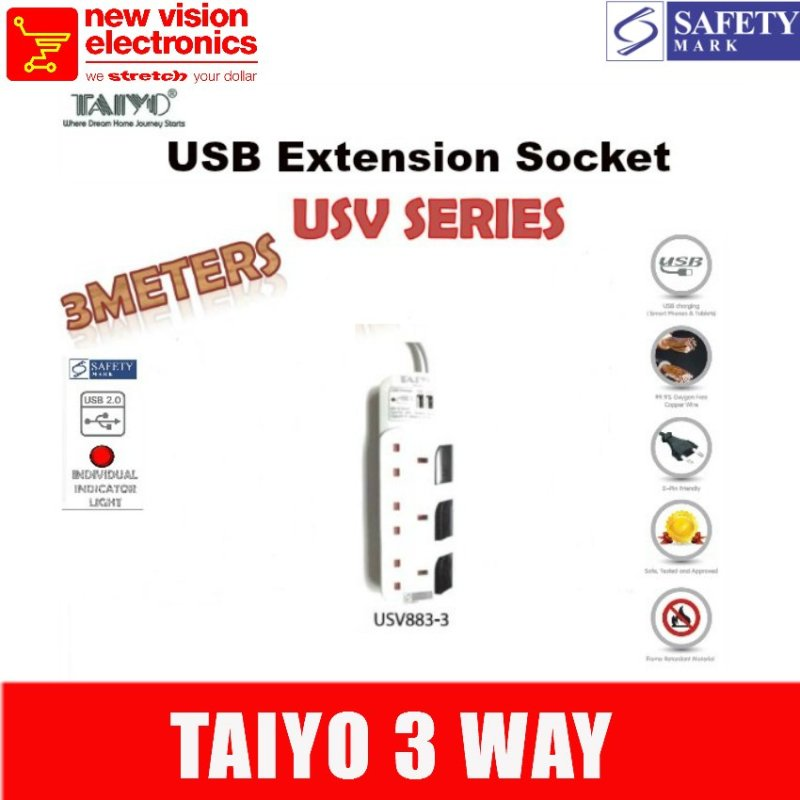 Taiyo 3 way Extension Socket with Dual USB.Model :USV883.PSB Safety Mark Approved.