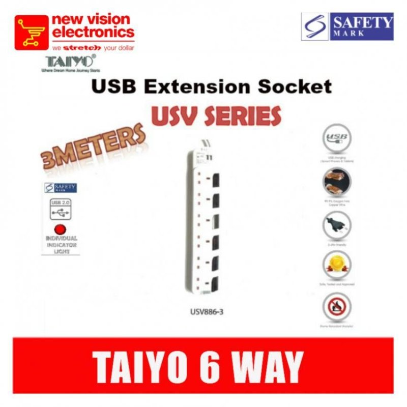 Taiyo 6 way Extension Socket with Dual USB.Model :USV886.PSB safety Mark Approved
