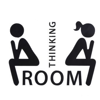 Thinking Room Pattern Toilet Door Sign Removable Toilet Wall Stickers - intl