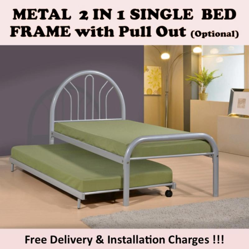 VENUS Single Bed with Pull Out Bed + 2 Plywood.