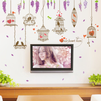 Violet bird cage room Home Decorative wall stickers TV wallstickers