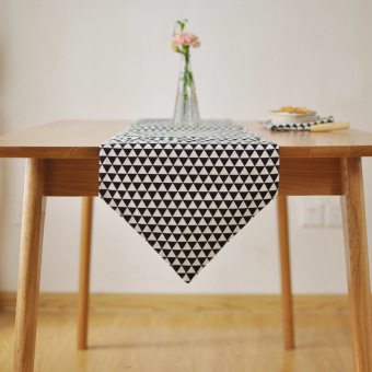 Warm Half Autumn Scandinavian Minimalist Modern Geometric Black Triangle  Table Runner Towel Cover Coffee Table Cloth