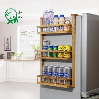 Wonderful bamboo refrigerator rack side wall rack bamboo kitchen shelf pendant refrigerator storage rack side rack storage rack - 2