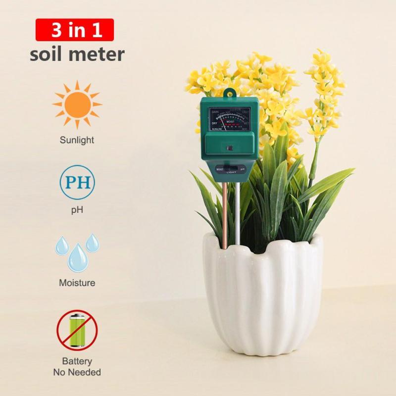 yieryi 3 in 1 Plant Flowers Soil PH Tester Moisture Measuring humidity Light Meter Hydroponics Analyzer Gardening Detector Hygrometer high quality Garden tool - intl