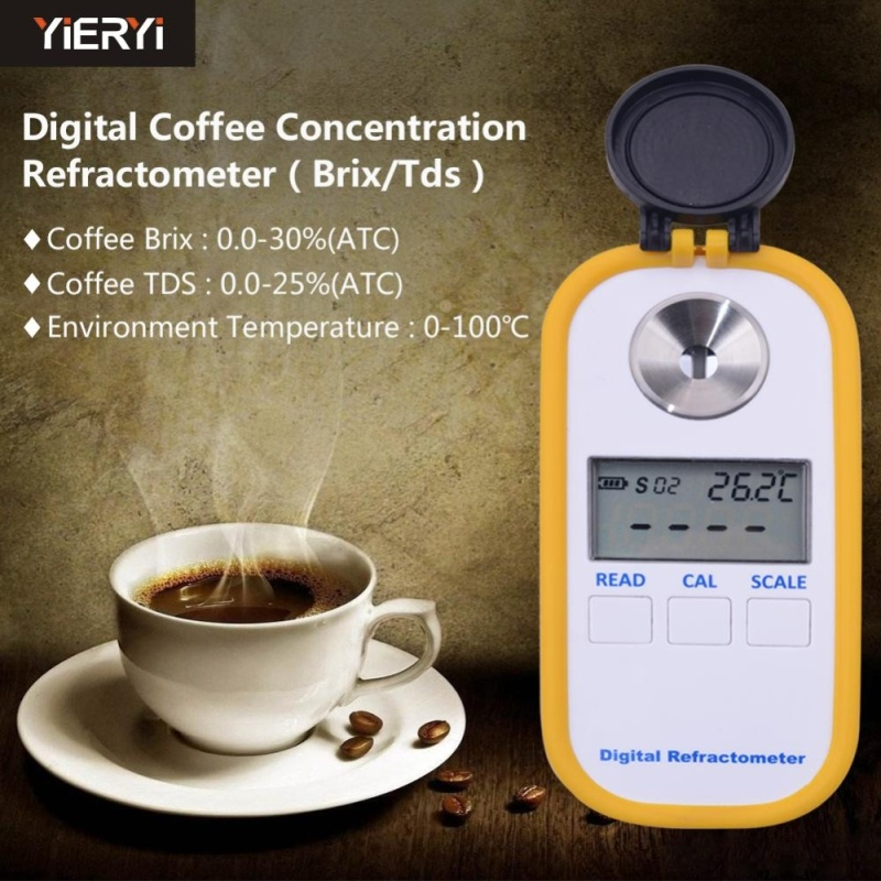 yieryi Digital Coffee Concentration Refractometer Brix TDS Coffee Brix 0-30 Brix and Coffee TDS 0-25 Digital Refractometer - intl