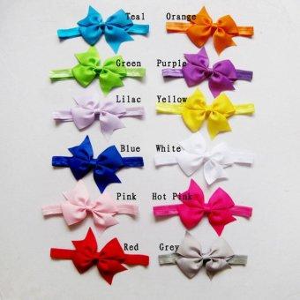 12pcs Baby Girl Satin Headband Hair Bow Band Accessories - intl - 3