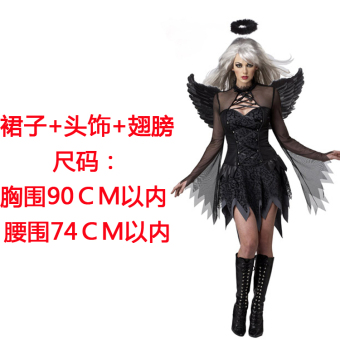 Harga 2017 New style dark angel wings devil Halloween clothing female role play party show clothes adult