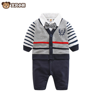 Abe Bear baby leotard long-sleeved cotton dark blue color stripedcollege style climbing clothes male baby Spring and Autumn romper
