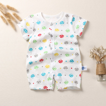Baby coveralls summer baby thin section short-sleeved cotton rompernewborn children clothes female boys climbing clothes Siameseclothes