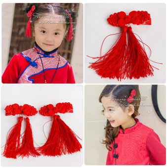 Baby festive tassled Red Chinese knot floral headdress hairclip