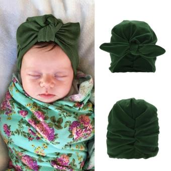 Baby Soft Cotton Knot Hat Rabbit Ears Stretchable Cap Beanie - intl